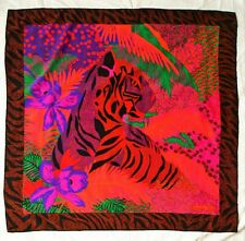 Christian Dior silk scarf - tiger and jungle print - 35 x 35 inches