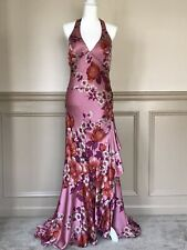 Sue Wong Mauve Floral Silk Satin Halter Style Hand-beaded Gown & Shawl - Size 4