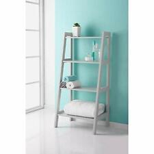 Saxony Wooden 4 Tier Ladder Shelf For Extra Storage Display Bathroom Unit -Grey