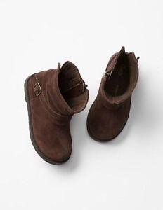 GAP Baby / Toddler Girls Size 6 US Brown Suede Moto Biker Boots Booties Shoes