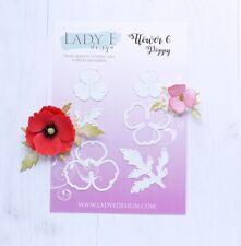 Lady E Design Flower 6 Poppy Cutting Die Set, Flower Making, Foam Flowers