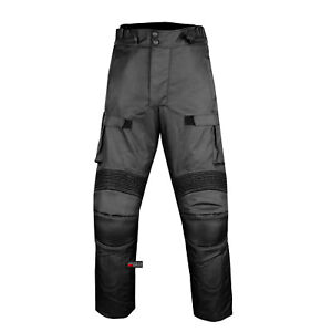 Motorcycle Textile Pants Waterproof Cruiser Touring Riding Removable Armor Black