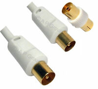 Coaxial Coax TV Tele Lead Aerial Cable with Adapter GOLD 50cm Coaxial Fly wire
