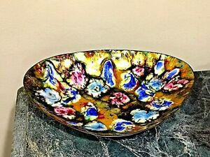 BEAUTIFULE MULTI COLOR ABSTRACT ENAMELED CAPER BOWL PLATE