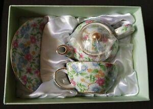 Vintage Chintz Alexandra Two's Company Three Piece Tea Set | China