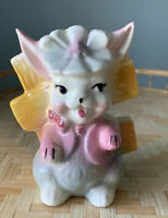 "Vintage Bunny  5 1/4"" Planter/Pencil Holder Kitsch Spring Decor Bisque USA"