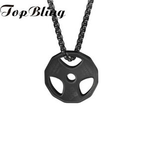 TopBling Mens Stainless Steel Fitness Dumbbell Weight Barbell Pendant Necklace