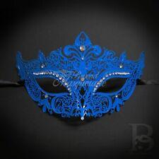 Filigree Metal Masquerade Mask Blue M7110