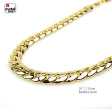 Men's Heavy 12 mm Solid 14K Gold Plated Miami Cuban Link Chain Necklace 24""