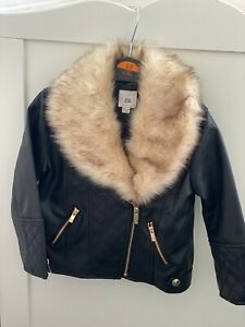 River Island Faux Leather Jacket With Faux Fur - Size 18-24 Months