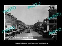OLD POSTCARD SIZE PHOTO NAMPA IDAHO THE MAINS TREET & STORES c1930
