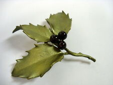 SILVER SEASONS BY MICHAEL MICHAUD ⚜ HOLLY LEAVES WITH GARNETS PIN 5598