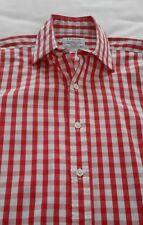 Men's TM Lewin Formal / School / Casual Shirt - Red Gingham Large Check - 15.5''