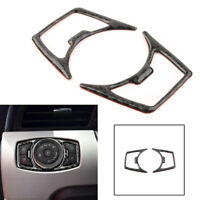 Carbon Fiber Headlight Lamp Switch Cover Frame Trim Fit Ford Mustang 2015-2019