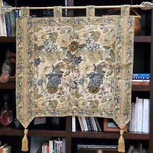 Tapisserie Tapestry Renaissance Woven Floral Art Beige Cream Green Wall Hanging