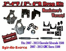 "07 -13 Chevy Silverado GMC Sierra 1500 3/5"" to 4/6"" Adjustable DROP KIT + SHOCKS"
