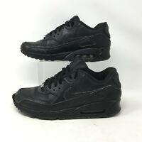 Nike Air Max M90 Sneakers Running Shoes Monochrome Lace Up Leather Black Mens 9