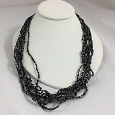 "Fashion Necklace 10"" Black Metallic Layers Cords Necklaces Costume Jewelry"