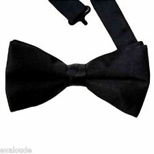 LUXURY 2 Layer Black Mens Mans Dickie Bow Tie PreTied Adjustable Clip Fastener