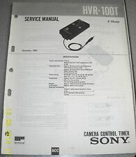 Sony hvr-100t Camera Control timer service manual