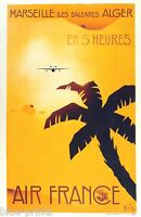 AIR FRANCE VINTAGE MARSEILLE PALM TREE  A1 SIZE canvas art painting Europe