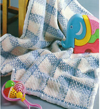 BABY CHECKS UNUSUAL CROCHET BLANKET PATTERN EASY TO MAKE LOOK BY EMAIL (327)