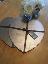 Love Heart Table Place Mats Set  in Champagne Gold Faux Leather  x 4