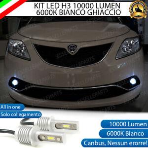 KIT LED FENDINEBBIA LANCIA YPSILON Y LAMPADE LED H3 BIANCO XENO 10000 LUMEN