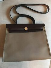 New Authentic HERMES Herbag Zip Canvas Etoupe  31cm PM Kelly Lock bag w/ Stamp