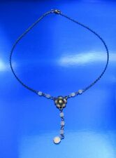 Pewter Necklace Signed C.Stein Rhinestone Floral Center Glass Accent Beads(1Adx)