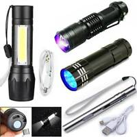 Super Bright Portable T6 COB LED USB Rechargeable Zoomable Flashlight Torch Lamp