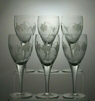 "GLENEAGLES CRYSTAL ""SPRINGTIME"" CUT CLARET WINE/WATER GOBLETS/GLASSES SET OF 6"
