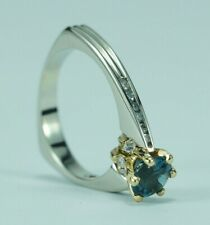 14k Two Tone White Yellow Gold Modern Unique London Blue Topaz Diamond Ring