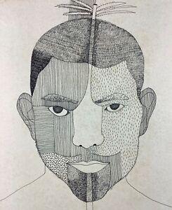 Carlos Rodríguez Cárdenas. Drawing, Untitled, ca 1982. Ink on paper. Signed.