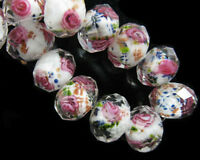 10Pc Pretty Faceted Glass Crystal Rose Flower Inside Lampwork Beads Finding 12mm