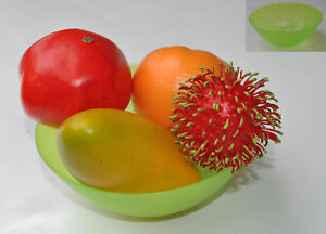 """Table Decoration Set of Tropical Fruits  + Free 6"""" Diameter Bright Green  Bowl"""