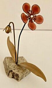 "Vintage Bovano of Cheshire Enamel Metal Red Flower Art Sculpture 4 1/2"" High"