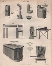 FURNACES. Designs. Laboratory Furnace. BRITANNICA 1860 old antique print
