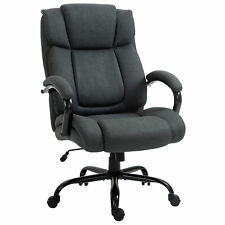 Big And Tall Executive Office Chair Swivel Linen Home High Back Chair Dark Grey