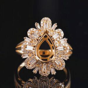 Natural Diamond Ring Semi Mount Settings Pear Cut 10x7mm Solid 18K Yellow Gold