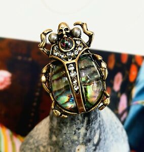 Art Deco Beetle Skull Ring Scarab Crystals Antique Gold Insect Vintage Style