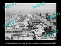 OLD LARGE HISTORIC PHOTO OF BENDIGO VICTORIA, ELEVATED VIEW FROM CHURCH c1880 1