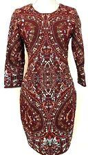 New HAUTE HIPPIE 3/4 Sleeve MERLOT Embroidered Sheath Mini Dress - 10 - $1,095