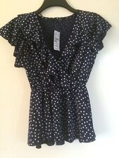 Quiz Navy And White Polka Dot Top Size 12 BNWT