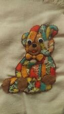 Canvas Teddy Wall Piece, Handmade, vintage 70's need's framed