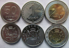 Georgia set of 3 coins 2006 (50 tetri +1+2 lari) UNC 1 bimetal
