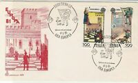 Italy 1981 Europa '81 Man+ Flag Slogan Cancel FDC Double Stamps Cover ref 22393