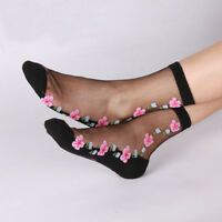 1Pair Women Lace Elastic Crystal Glass Silk Thin Transparent Flower Ankle Sock