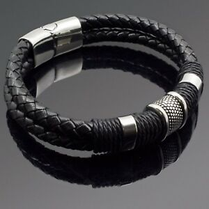 Men's Black Braided Leather Stainless Steel Magnetic Bracelet Bangle Cuff