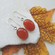 Karneol oval rot braun orange Design Ohrringe Ohrhänger 925 Sterling Silber neu